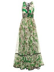 Roberto Cavalli Tropical Floral Print Silk Gown