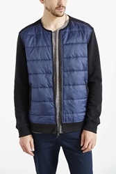 Feathers Quilted Collarless Jacket Black