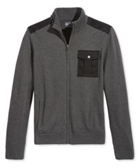 American Rag Men's Full Zip Mock Collar Sweater Only At Macy's Charcoal Hthr