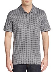 Saks Fifth Avenue Pima Geo Print Polo Shirt Grey