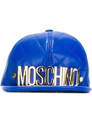 Moschino Quilted Cap Blue