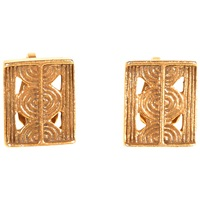 Alice Joseph Vintage Yves Saint Laurent Gold Plated Aztec Style Clip Earrings Gold