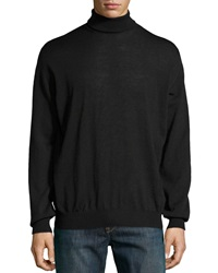 Neiman Marcus Lightweight Knit Turtleneck Black