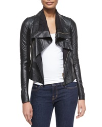 Rick Owens Shawl Collar Leather Biker Jacket