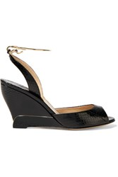 Paul Andrew Delphi Metal Trimmed Elaphe Wedge Sandals Black