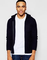 Native Youth Contrast Panel Hooded Cardigan Navy