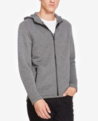 Kenneth Cole New York Men's Heathered Zip Front Hoodie Charcoal Heather