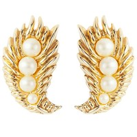 Susan Caplan Vintage 1950S Trifari Gold Plated Faux Pearl Leaf Clip On Earrings Gold