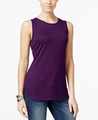 Inc International Concepts Petite Mixed Media Tank Top Only At Macy's Purple Paradise