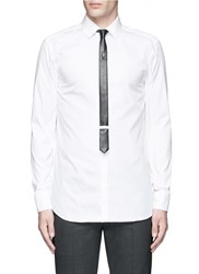 Neil Barrett Thunderbolt Pin Faux Leather Tie Tuxedo Shirt White