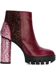 Markus Lupfer Sequin Panelled Boots Red