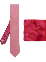 Canali Printed Tie And Handkerchief Red