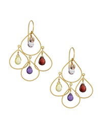 Nanis Two Tier Amethyst Garnet And Lemon Quartz Chandelier Earrings