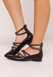 Missguided Chain Detail Pointed Flat Shoes Black Black