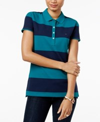 Tommy Hilfiger Rugby Striped Polo Top Everglade Core Navy