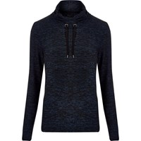 River Island Mens Dark Blue Marl Cowl Neck Sweatshirt