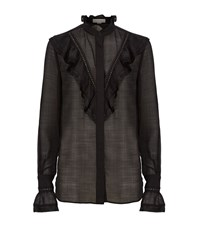 Stella Mccartney Ruffle Fringed Voile Shirt Female Black