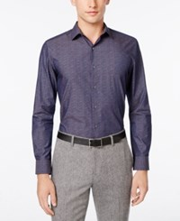 Bar Iii Men's Slim Fit Navy Wine Floral Dress Shirt Only At Macy's