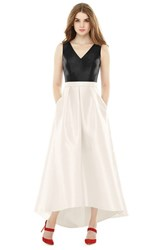 Women's Alfred Sung High Low V Neck Sateen A Line Gown