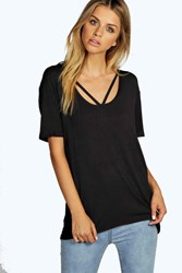 Boohoo Strappy Front Oversized Tee Black