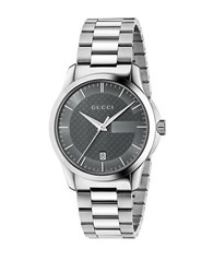 Gucci G Timeless Anthracite Dial Stainless Steel Bracelet Watch Silver