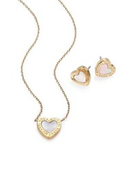 Michael Kors Mother Of Pearl Heart Stud Earrings And Pendant Necklace Set Gold