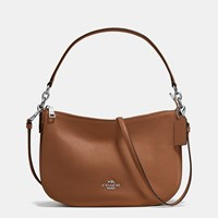 Coach Chelsea Crossbody In Pebble Leather Silver Saddle