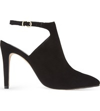 Reiss Taylor Suede Cut Out Heeled Boots Black