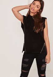 Missguided Brushed High Neck Zip Sleeveless Jumper Black
