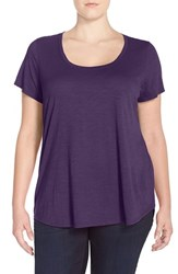 Plus Size Women's Eileen Fisher Scoop Neck Organic Cotton Jersey Tee African Violet