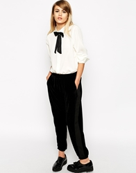 Little White Lies Velvet Relaxed Trouser With Side Stripe Black