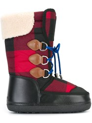 Dsquared2 Checked Pattern Moon Boots Black