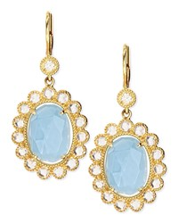 Oval Rose Cut Aquamarine And Rose Cut Diamond Scalloped Earrings On French Wire Penny Preville Blue