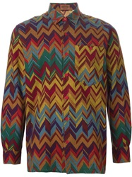 Missoni Vintage Zigzag Print Long Sleeve Shirt Yellow And Orange