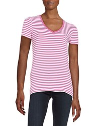 Lord And Taylor Striped Stretch Cotton Tee Purple Orchid