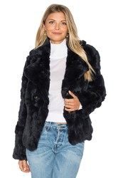 525 America Rabbit Fur Peacoat Navy
