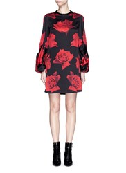 Alexander Mcqueen Rose Print Puff Sleeve Silk Satin Dress Black Multi Colour