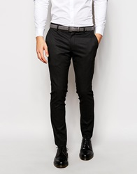 Selected Homme Tuxedo Trouser In Woven Jacquard In Skinny Fit Charcoal