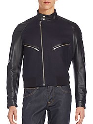 The Kooples Leather Trimmed Bomber Jacket Navy