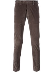 Pt01 Skinny Fit Cord Trousers Brown
