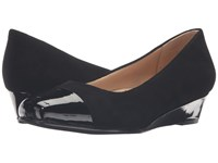Trotters Langley Black Kid Suede Leather Patent Women's Wedge Shoes