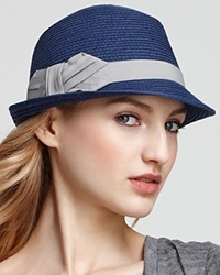 August Accessories Paper Fedora With Bow Navy Grey