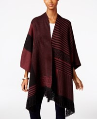 Styleandco. Style Co. Striped Fringe Poncho Only At Macy's Dried Plum Combo