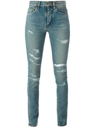 Saint Laurent Ripped Skinny Jeans Blue