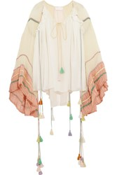 Chloe Tasseled Silk Crepon Blouse Pastel Yellow