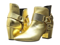 Just Cavalli Low Heel Bootie With Gold Hardware