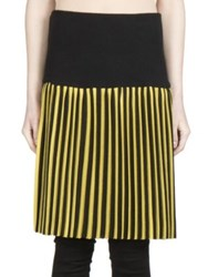 Givenchy Pleated Striped Skirt Black Yellow