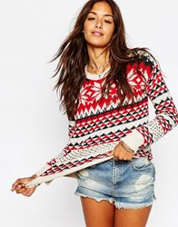 Abercrombie And Fitch Snowflake Knit Jumper Rednavy
