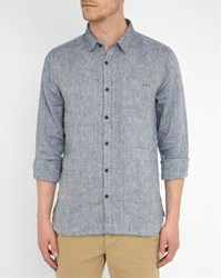 Harris Wilson Indigo Cotton Chambray Shirt Blue
