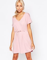 Jasmine Skater Dress With Tie Front Pink